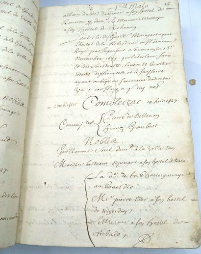 """[BRETAGNE]. Important manuscrit titré imprimé """"Estat des Villes et Paroisses de..."""