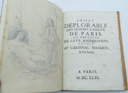 [MAZARINADE]. L'estat deplorable des femmes d'amour de Paris, la Harangue de leur...