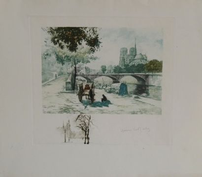 HIRNÉ ou Henri le Riche (1868-1944)  Le quai...