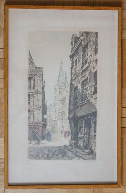Eugène CAVIGNAC  Vue de Rouen  Gravure en...