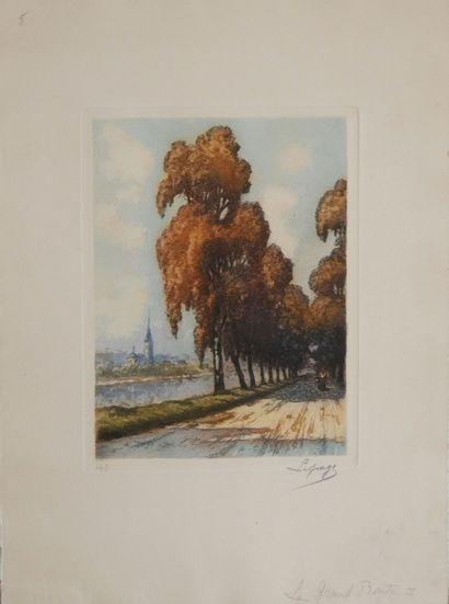 Ecole française du début du XXème siècle  Le Moulin  La Grande Route  Deux gravures...