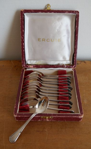 ERCUIS  12 cuillères à moka en métal argenté,...