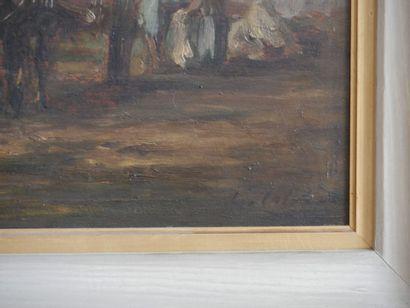Ecole française du XIXème siècle  Chevaux et paysans  Huile sur panneau, porte une...