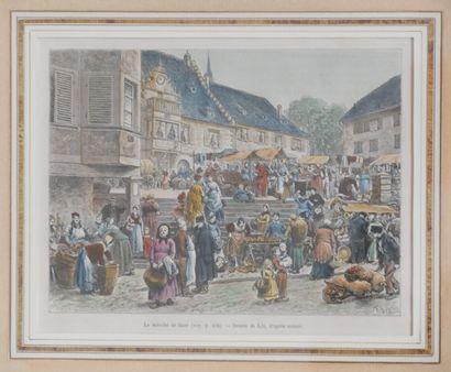 Frédéric Théodore LIX (1830-1897), d'après  Le marché de Barr  Gravure en couleurs...