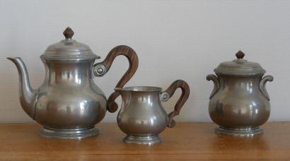 Service à thé en étain et bois précieux comprenant:...