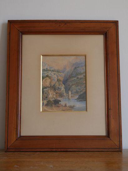 Ecole française ou italienne du XIXème siècle  Paysages de montagnes et lac  Aquarelles...