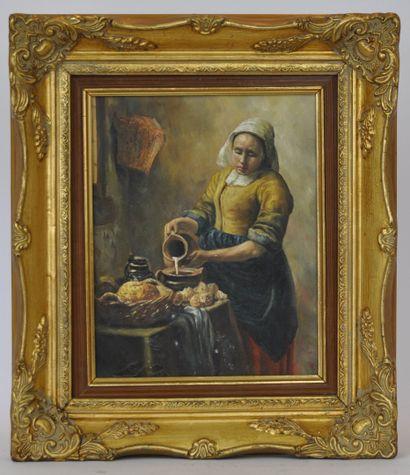 Ecole du XXème siècle. D'après Johannes Vermeer...