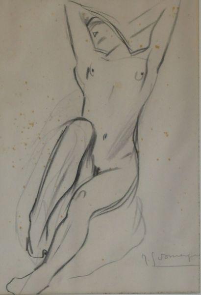 Jean-Gabriel DOMERGUE (1889-1962)  Jeune femme nu levant les bras  Dessin à la mine...