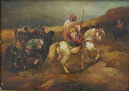 Ecole du XXème siècle  Scène de batailles orientalistes  Huiles sur panneaux, dont...