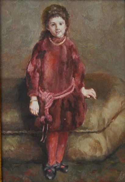 Ecole du XXème siècle  Jeune fille à la tunique rouge  Huile sur panneau  18 x 12,5...