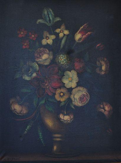Dans le goût Espagnol du XVIIème siècle  Natures mortes  Huile sur toile enduite...