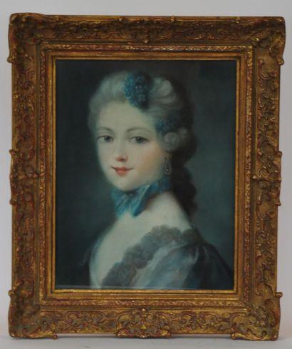 Ecole française du XIXème  Jeune élégante...