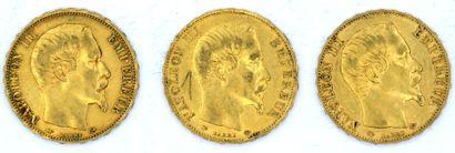 Trois Monnaies OR - Napoléon III (Tête Nue) Trois pièces Napoléon III - Tête Nue....