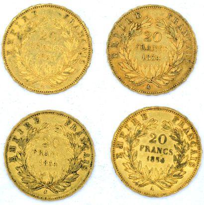 Quatre Monnaies OR - Napoléon III (Tête nue) Quatre pièces 20 Francs Napoléon III...