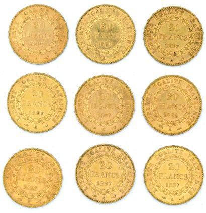 Neuf Monnaies OR - Génie Neuf pièces 20 Francs au Génie.  1895 A x2 et 1897 A x7....