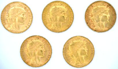 Cinq Monnaies OR - Coq Cinq pièces 20 Francs au Coq.  1903, 1904, 1906, 1909 et 1913....