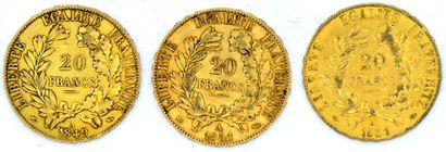 Trois Monnaies OR - Cérès Trois pièces 20 Francs Cérès 1849 A et 1851 A (x2).  Poids...