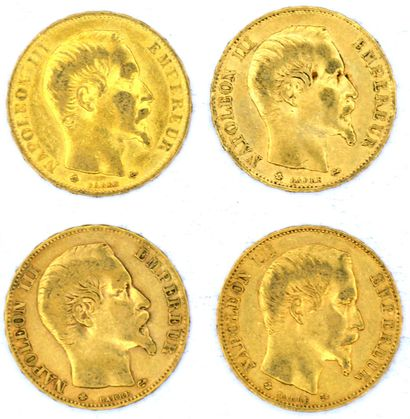 Quatre Monnaies OR - Napoléon III (Tête nue)