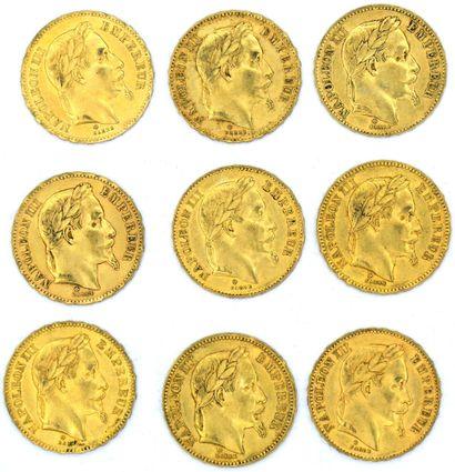 Neuf Monnaies OR - Napoléon III (Tête Laurée)