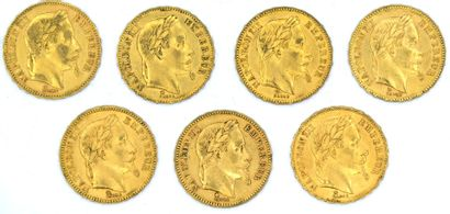 Sept Monnaies OR - Napoléon III (Tête Laurée)