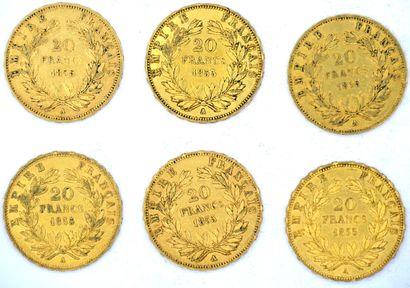 Six Monnaies OR - Napoléon III (Tête Nue) Six pièces 20 Francs Napoléon III - Tête...