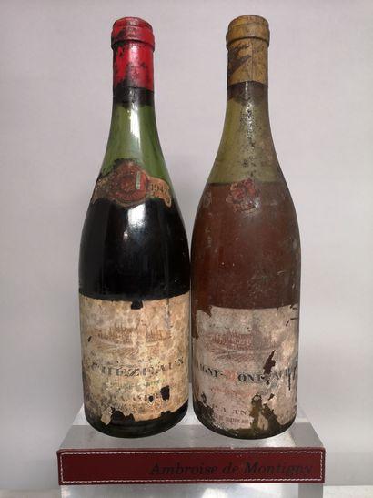 2 bouteilles Un ECHEZEAUX Grand cru 1947...