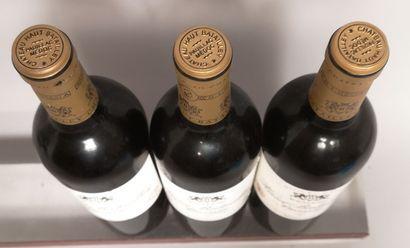 3 bouteilles Château HAUT BATAILLEY - 5e GCC Pauillac 2004 Etiquettes légèrement...