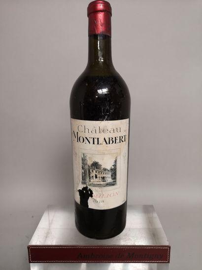 1 bouteille Château MONTALBERT - Saint Emilion 1918 Etiquette abîmée et légèrement...