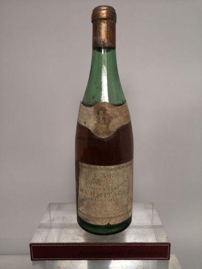 """1 bouteille HERMITAGE """"La Chapelle"""" Blanc - Paul JABOULET 1933? Etiquette tachée..."""