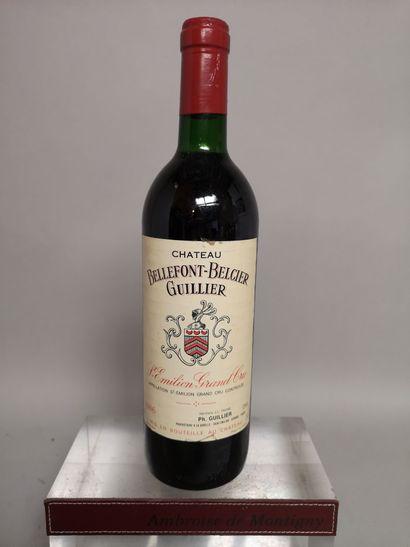1 bouteille Château BELLEFONT BELCIER GUILLER - Grand Cru de Saint Emilion 1986