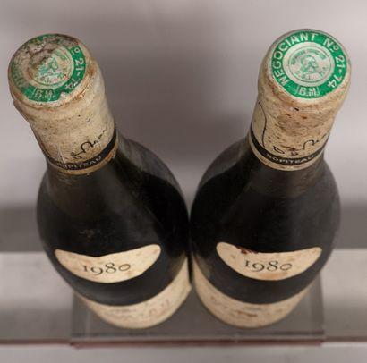 """2 bouteilles POMMARD """"Les Chanlains"""" - A. ROPITEAU 1980 Etiquettes très tachées..."""