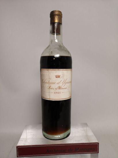 1 bouteille Château D' YQUEM - 1er cru supèrieur - Sauternes 1921 Etiquette lég....