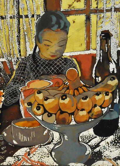 Alix AYMÉ (1894-1989)  Le goûter  Laque, coquilles d'oeufs et réhauts d'or sur panneau,...