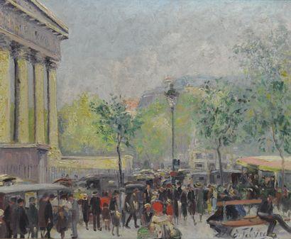 Edouard FEBVRE (1885-1967)  Place de la Madeleine  Huile sur toile signée en bas...