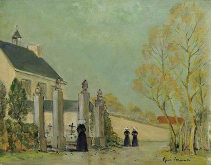 Ecole française du début du XXème siècle  La promenade des religieuses  Huile sur...
