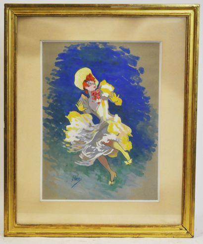 Jules CHERET (1836-1932)  Femme à la robe...
