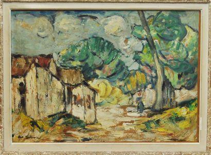 Abel BELTRAM (1871 - 1954)  Jeune femme au village  Huile sur toile signée en bas...