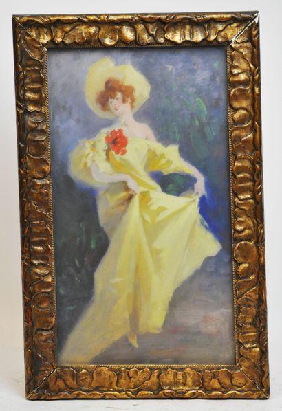 Jules CHERET (1836-1932)  Elégante à la longue...