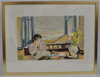 André PLANSON (1898-1981)  Lecture en bord de mer  Lithographie en couleurs dédicacée,...