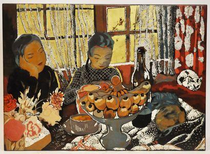Alix AYMÉ (1894-1989)  Le goûter  Laque,...