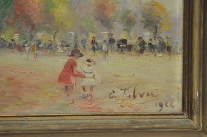 Edouard FEBVRE (1885-1967)  Jardin du Luxembourg  Huile sur toile signée en bas...
