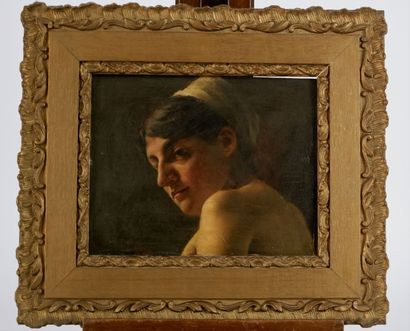 Roberto MARSHALL (1849-1926)  Jeune femme au turban  Huile sur panneau signée R.Marshall...