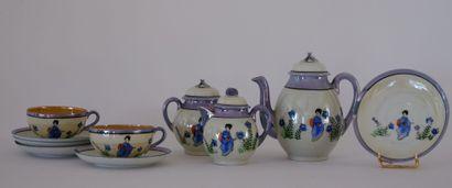CHINE  Service à thé en porcelaine fine à...