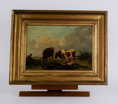 Ecole française de la seconde moitié du XIXème siècle  Le repos du berger  Huile...