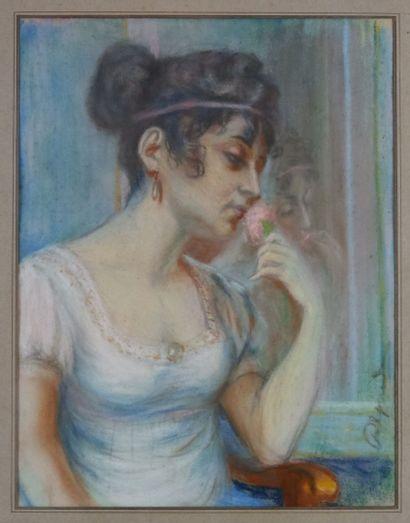 Ecole française du XXème siècle  Jeune femme à la rose  Pastel sur papier signée...