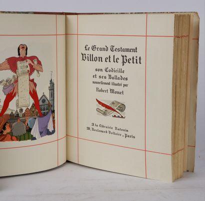 VILLON (François). Ses oeuvres. Paris, Aux éditions Ratouin, 1948. In-8 demi-maroquin...