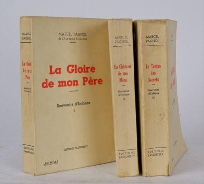 PAGNOL (Marcel), Souvenirs d'enfance 3 volumes...
