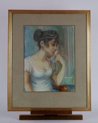 Ecole française du XXème siècle  Jeune femme...