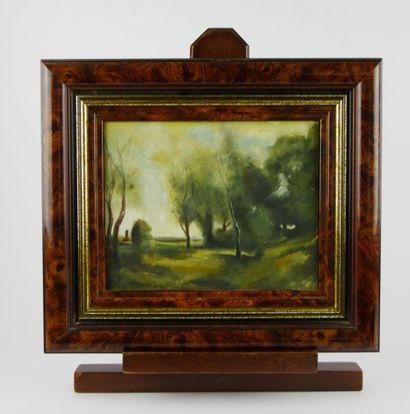 Ecole du XXème siècle  Paysages. Lac et bois....