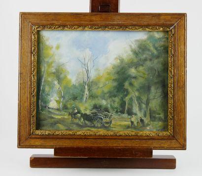 Ecole du XXème siècle  Paysages animés. Jeune femme près d'un village et charrette....